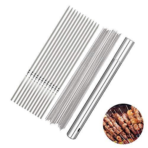 ROBAKO Pinchos para Barbacoa de Acero Inoxidable 100PCS x 30 cm Palos de Metal para Barbacoa, Kebab...