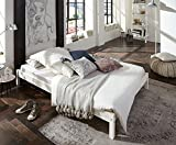 SAM® Futonbett Sina 140x200 cm, Gästebett, weiß lackiert, Kiefernholz, massives Bett aus Kiefer