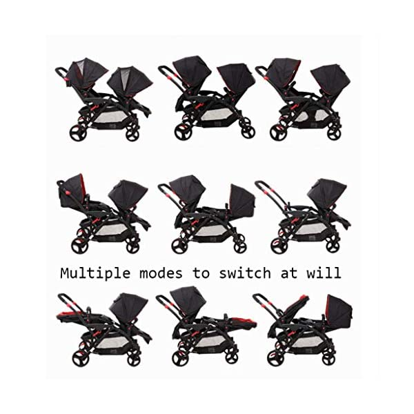Connect Tandem Pushchair Twins Baby Stroller Can Shock Can be Split Two Tires Double Trolley Travel System  Lightweight and compact Travel System ideal for everyday use or travel. One-hand fold mechanism lets you easily fold the pushchair. Multi-position reclining chair for comfort. 4