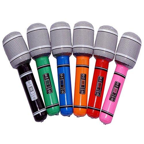 NUOLUX Aufblasbares Kunststoff Mikrofon Mitbringsel Kinder Spielzeug Geschenk 6pcs 33CM (zufällige Farbe)