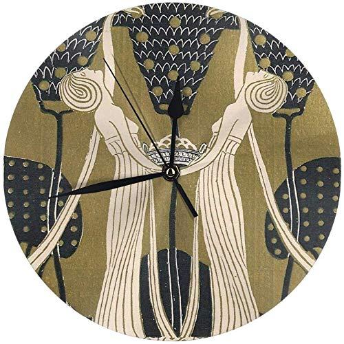 angwenkuanku Damen Jugendstil Runde Wanduhr für Zuhause, Büro, Schule, Deko, 24,9 cm, batteriebetrieben