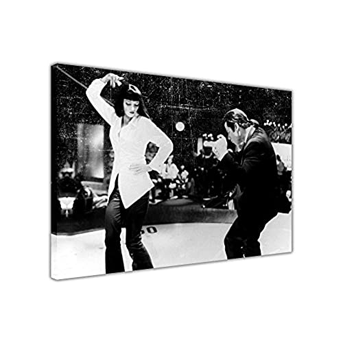 Pulp fiction prints dance off film pictures framed canvas wall art movie poster size a2 24 x 16 60cm x 40cm