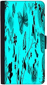Snoogg Blue Butterflies Graphic Snap On Hard Back Leather + Pc Flip Cover Htc...