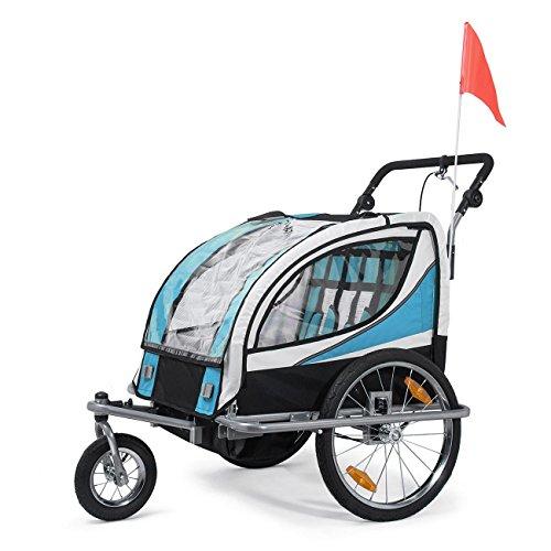 SAMAX Fahrradanhänger Jogger 2in1 360° drehbar Kinderanhänger Kinderfahrradanhänger Transportwagen vollgefederte Hinterachse für 2 Kinder in Blau - Silver Frame - 2