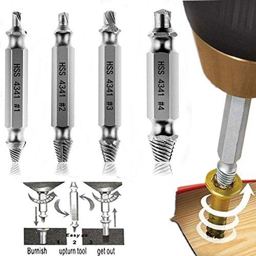 YOEEKU Schraubenausdreher-Set zum Entfernen beschädigter Schrauben Schraubenentferner, aus H.S.S. 4341#, Härtegrad: 62-63hrc