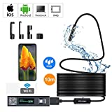 VGROUND Endoscopio Inalámbrico, Cámara de Inspección con WiFi 2.0 MP Boroscopio IP68 Impermeable 1200P HD 10M Cable Rígido con 8 Pcs LED para Android, iOS Smartphone, Tableta, PC