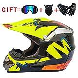 Alvyu Off-Road Motorrad Racing Helm, Vollgesichtsdämpfung Durable Motorsport Helm, MX ATV Motorradhelm für Junge Mädchen,S