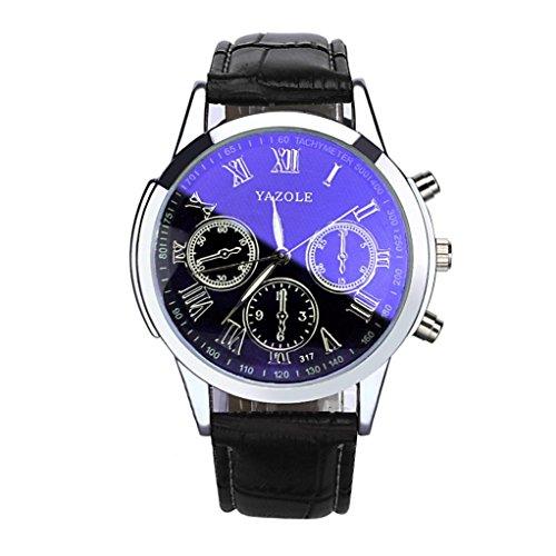 ❤️ Amlaiworld Montre de luxe en cuir de mode Hommes Blue Ray montre-bracelet en verre Montres analogiques quartz❤️ (1, Noir)