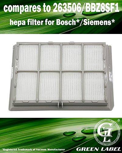 Filtro HEPA para aspiradora Bosch / Siemens. Reemplaza a 263506 = BBZ8SF1. Producto genuino de Green Label