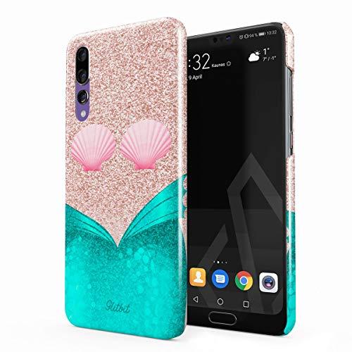 Glitbit Hülle Kompatibel mit Huawei P20 Pro Mermaid Tail Sea Shell Glitter Sparkle Cute Tumblr Meerjungfrau Dünn Robuste Rückschale aus Kunststoff Handyhülle Case Cover (Pro Mermaid Tails)