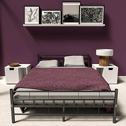 TecTake Double metal bed frame king size modern bedroom + slatted frame - different models - (140x200cm, Black)