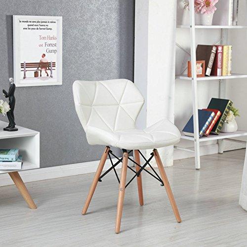 Panana 2er Wohnzimmerstuhl Eiffel Gepolsterter Stuhl Esszimmerstuhl Bürostuhl Holz Holz - Weiß