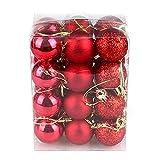 Cheerfulus 24 Stücke Weihnachtskugeln Rot glänzend glitzernd matt Christbaumschmuck bis Ø 3 cm Baumschmuck Weihnachten Deko Anhänger