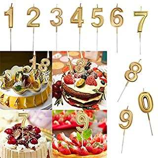 TAOtTAO Gold Number Birthday Numeral Candles Number Cake Decor for Adults/Kids Party (1-10 (10pcs))