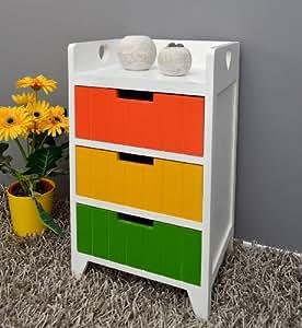kommode schrank flur bad k chen kinderzimmer regal nachttisch mit drei bunten schubladen in gr n. Black Bedroom Furniture Sets. Home Design Ideas