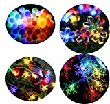 #4: Citra Pack of 4 Crystal Multi Colour Led String Strip Light Star Snow Flake Ball Swastika and Other Random Shapes - Multi Colour