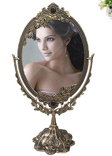 KINGFOM Drehenden Kreisförmigen Doppelseitiger antik Kosmetikspiegel (Standard Size, Bronze)