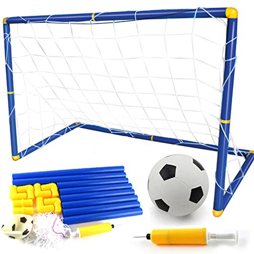 Hmjunboys Fußballtore Set, Mini Soccer Goal, Faltbare Pop-up Fußballtore für Kinder inkl Mini Fußball, Fußballtor, Pumpe mit Aufblasnadel für Indoor/Outdoor Training Oder Team-Spiel