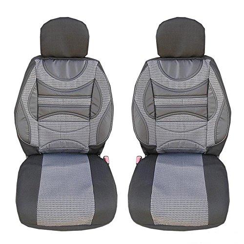 2 vordere Sport Auto Sitzbezug Sitzbezüge Schonbezüge Schonbezug Grau Hochwertig Neu