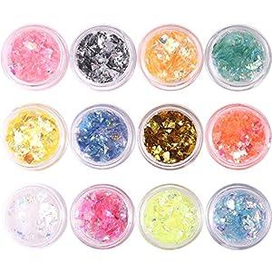 Coscelia 12 pc Strass Glitter Paillette au Forme du Débris Pour Ongle Nail Art Manucure