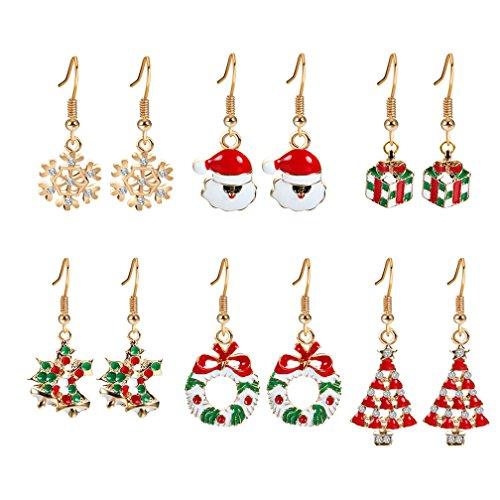 Frauen Mädchen 6 Paar Weihnachten baumeln Ohrringe Set -