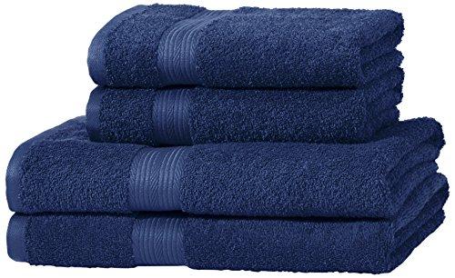 AmazonBasics Handtuch-Set, ausbleichsicher, 2 Badetücher und 2 Handtücher, Königsblau, 100% Baumwolle 500g/m²
