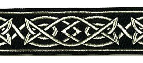 10m Keltischer Borte Webband 35mm breit Farbe: Schwarz-Silber präsentiert von 1A-Kurzwaren MG05-swsi-35 -