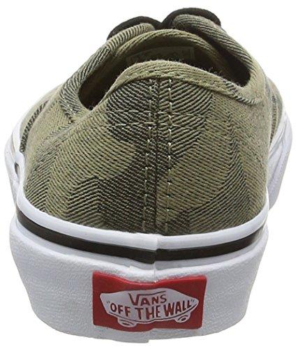 Vans Authentic, Baskets Basses Mixte Enfant Vert (Camo Jacquard raven/true white)