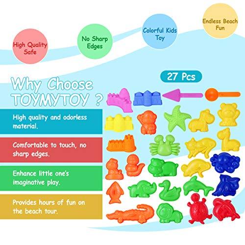 TOYMYTOY Sandspielzeug Kinder Strand Spielzeug Sand Förmchen Sand Spielset – Meeres Tiere, Safari Tiere, Mini Schlösser Sand Werkzeuge – Sommer Draussen Spaß