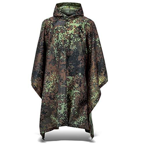 Outdoor Regenponcho | Ripstop Regencape mit Kapuze | Regen Poncho inkl. Tasche | Regenjacke für Damen und Herren - Flecktarn