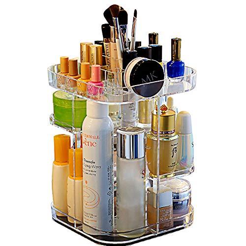 Kosmetiktasche, Verstellbar Bürsten Lippenstift Halter Groß Kapazität Aufbewahrung 360 Degree Rotation Make-Up Ordner Box Display Schmuck (Weiß) - Verstellbare Bürste
