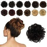 FESHFEN Haargummis/Extensionen für Haarknoten und Hochsteckfrisuren, lockige, zerzauste Haarteile für Damen, Donut-Haar-Dutts aus 100 % Echthaar