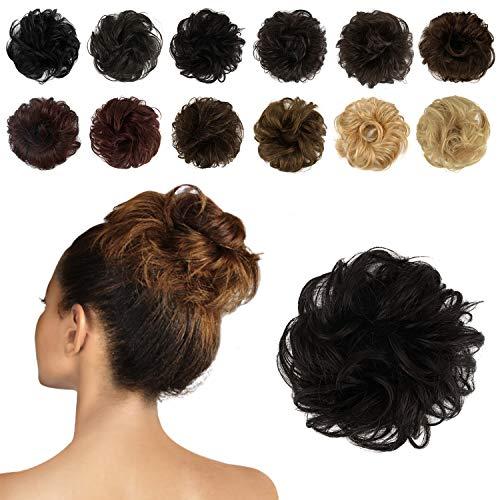 Feshfen - elastici per capelli da donna, in 100% capelli umani, chignon, updo, extension, capelli ricci