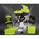 Milk Rock Baby Macano 4 in 1 Cochecito Combinado con 3 colores diferentes para el chasis (asiento del coche con la base ISOFIX, cubierta para la lluvia, mosquitero, ruedas giratorias 20 colores)