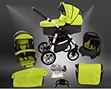 Milk Rock Baby Macano S Kinderwagen Sommer-Set (Sonnenschirm, Autositz & Adapter, Regenschutz, Moskitonetz, Schwenkräder) MO69 White/Graphit Grün