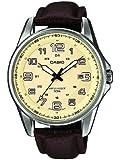 Casio - MTP-1372L-9BVEF - Standard - Montre Homme - Quartz Analogique - Cadran Beige - Bracelet Cuir Marron