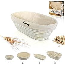 Amazy Banneton para pan / La ideal cesta para masa y fermentacion de pan de mimbre natural (oval  ∅ 28 cm)
