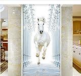 77X200 cm Weißes Pferd Bild Wandbild Wandtüraufkleber Tapete Aufkleber Dekoration Schlafzimmer Kinderzimmer