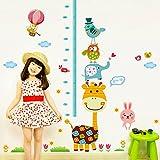 Decals Design 'Height Chart Giraffe with Friends and Patterns' Wall Sticker (PVC Vinyl, 90 cm x 60 cm),Multicolour