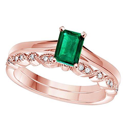 RS JEWELS Damen -    Sterling-Silber 925       (Rose Gold-emerald-cut-ringe)