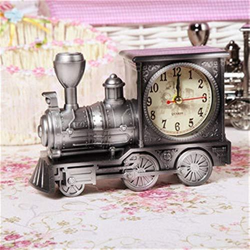 Speedmar UK Mode Wohnkultur Retro Zug Wecker, Retro Train Style Wecker Kinder Geschenk Tisch Schreibtisch Quarz Wecker (Farbe : Silver)