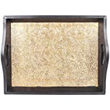 APKAMART Handicraft Wood And Brass Tray - 14 Inch - Hand Crafted Decorative Serving Tray For Table Decor, Home Decor, Dining And Serving And Gifts
