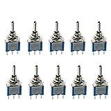 Mintice™ 10 Stück Blau Kfz Auto Ein/Aus/Ein 3 Polig Momentaner Mini Kippschalter Instrumententafel Wippschalter