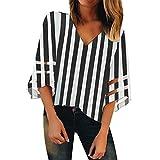 Vendita Maglia Pannello Camicetta per Donne丨2019 Estate Casual 3/4 Campana Manica Sciolto Shirt丨Donna Elegante Girocollo Solido Maglie Top Camicie(Nero 8,x-Large)