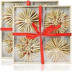 com-four® 24-teiliges Strohsterne Set, Ø 10 cm, Christbaumschmuck aus Stroh für Ihren Weihnachtsbaum, Baumschmuck und Fensterdeko zu Weihnachten (24-teilig - 10 cm)