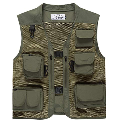 Men Summer Outdoor Camouflage Mesh Photography Vest Multi-Pocket Portable Breathable Quick Dry Fishing Vest Army Green M -