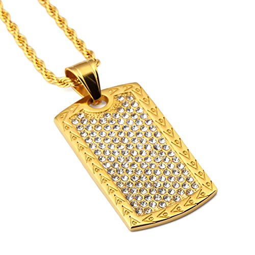 nyuk Dog Tag Mens Collana strass Hip Hop