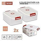 TATAY 1150209 - Lote de 2 Botiquines, Cajas Multiusos de 4.5 Litros de Capacidad por Unidad, Color Blanco con el Simbolo de la Cruz Roja, Medidas 19 x 30 x 12.5 cm