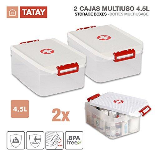 TATAY 1150209 - Set von 2 Erste-Hilfe-Lagerung Mehrzweckboxen von 4,5 Litern pro Einheit, Weiße Farbe mit dem Roten Kreuzzeichen, Maßnahmen 19 x 30 x 12.5 cm