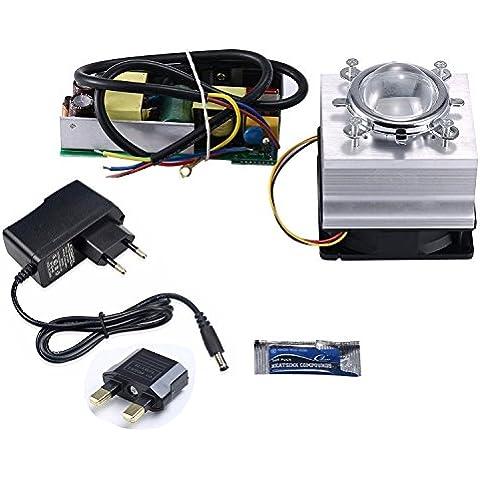 Tesfish DIY 100 W LED conductor + disipador de calor + lente con reflector Colimador + controlador de ventilador para de alta potencia LED Grow Light LED Luz